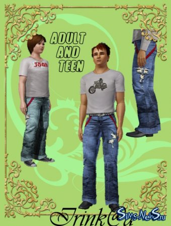 Adult and teen jeans with suspenders