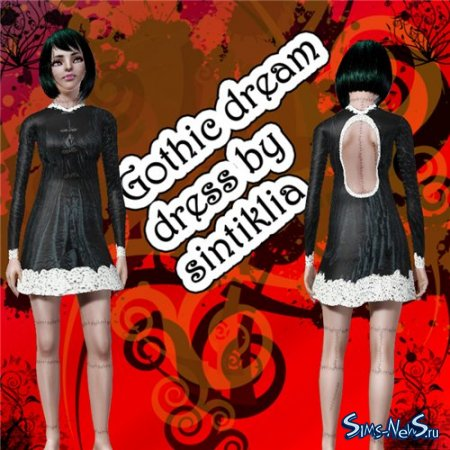 Платье для Sims 3 Gothic dream dress