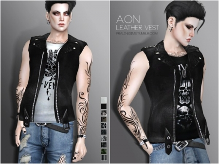 Aon Leather Vest. Безрукавка для симов