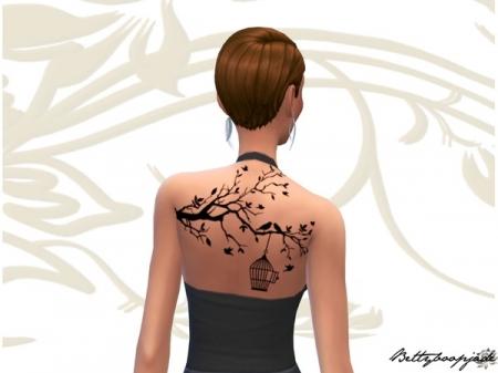 Free birds women - Tree branch tattoo. Татуировка для симок