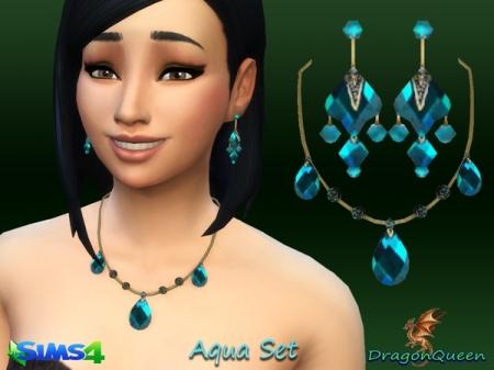 Aqua Set. Комплект сережек и ожерелья для симок