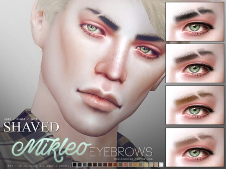 Mikleo Eyebrows N93 Shaved. Брови с вырезом для симов и симок