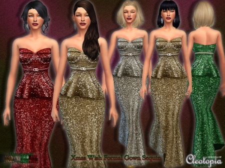 Set15- Xmas Wish Belted Sequin Gown